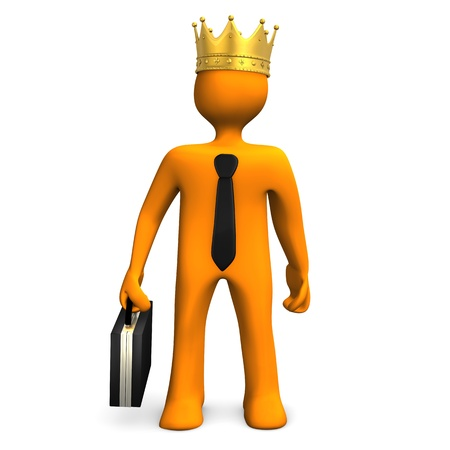 commanding: Orange cartoon character with golden crown and black tie  White background  Stock Photo