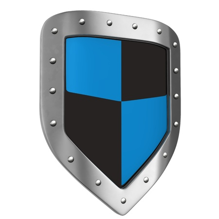 blue shield: Protective shield on the white background  3d illustration