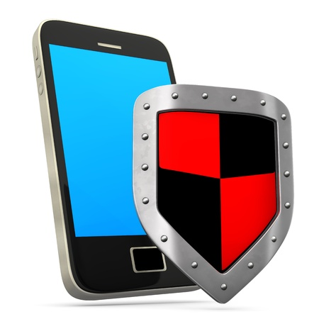 iron defense: Smartphone with protective shield on the white background