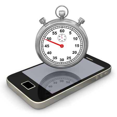 Smartphone with stopwatch on the white background  photo