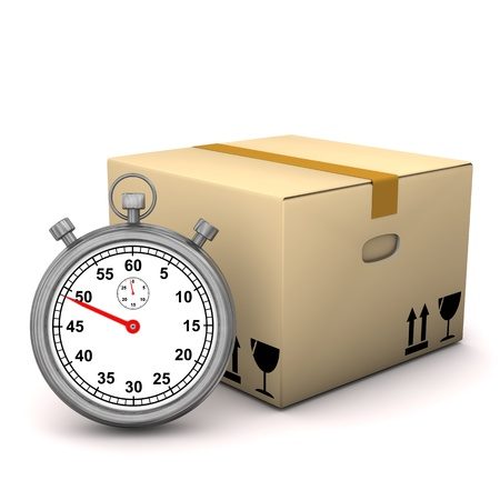 forwarder: Stopwatch with packing case on the white background