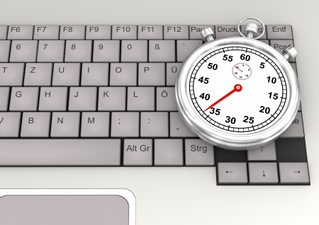 ultrabook: Keyboard of laptop with stopwatch  3d illustration