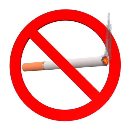 No smoking sign, with cigarette on the white background Stock Photo - 18370186