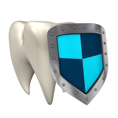 iron defense: White tooth with protective shield  White background