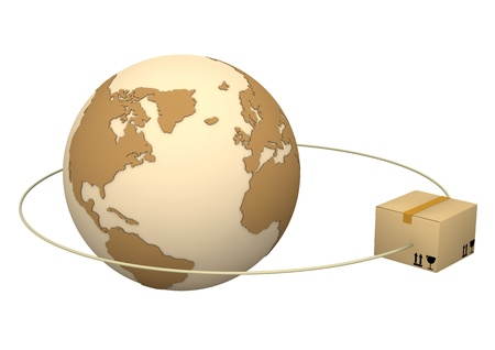 forwarder: Globe with parcel on the white background.
