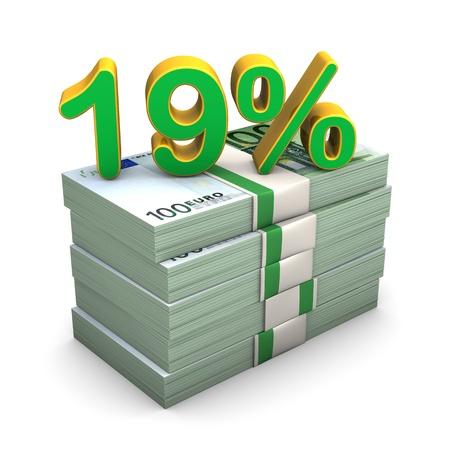 finanzen: Euro notes with text 19 %. White background. Stock Photo