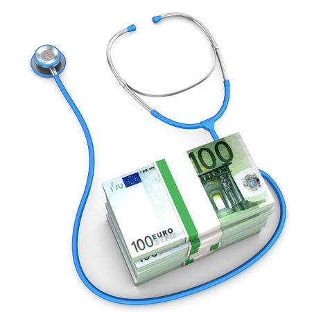 outpatient: Euro banknotes with blue stethoscope on the white background.