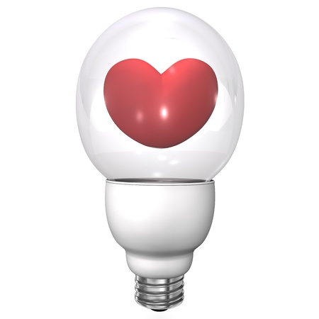 lustrous: Bulb with red heart on the white background.