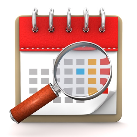 month 3d: Calendar with loupe on the white background. Stock Photo