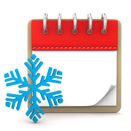 slicked: Calendar with blue snowflake on the white background. Stock Photo