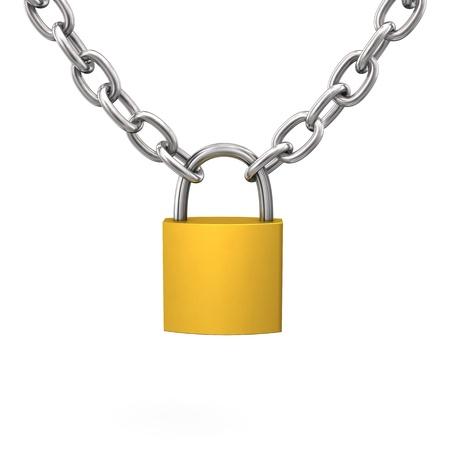 cadenas: D-Lock con cadena de hierro en el fondo blanco. Foto de archivo