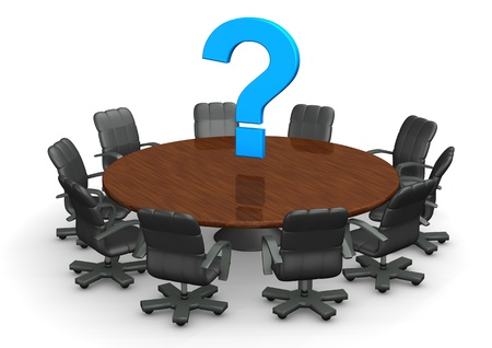 session: Round conference table with blue question mark. Stock Photo