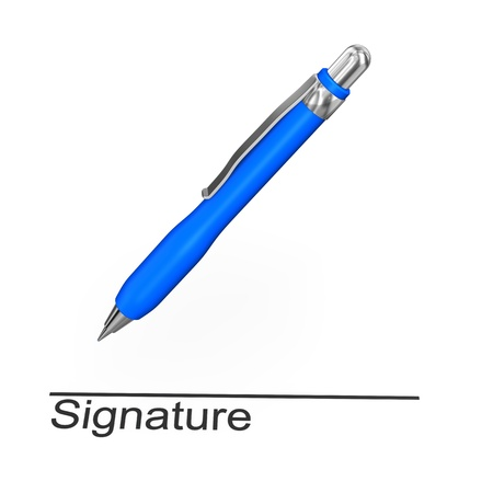 credentials: Blue pen with text Signature. White background.