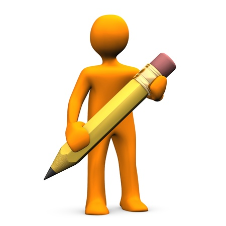 reminder icon: Orange cartoon character with pencil. White background.