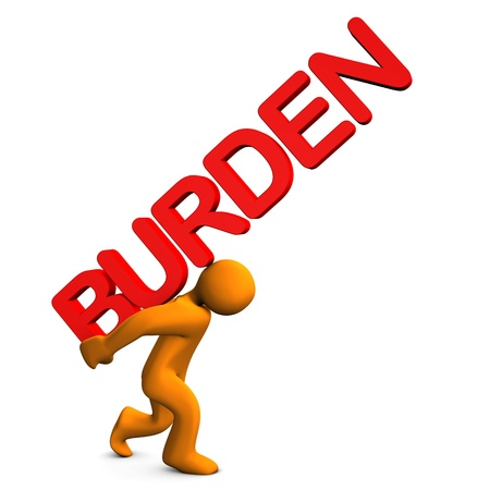 burden: Orange cartoon character with red text