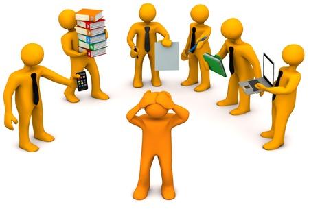 burnout: Eine Orange Zeichentrickfigur hat Stress bei der Arbeit.