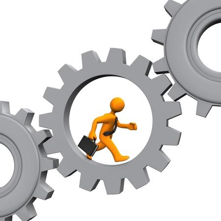 runs: Businessman runs in the grey gear. White background. Stock Photo