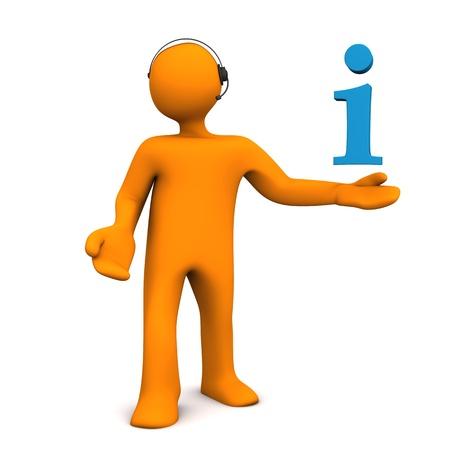 headset symbol: Orange cartoon character with headset and info symbol. Stock Photo