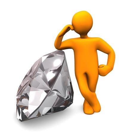 jeweller: Orange cartoon character with diamond. White background. Stock Photo