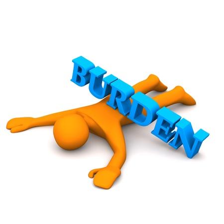 Orange cartoon character with text burden.
