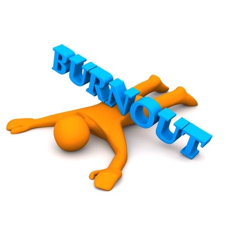 """Orange cartoon Charakter mit blauen Text """"Burnout""""."""