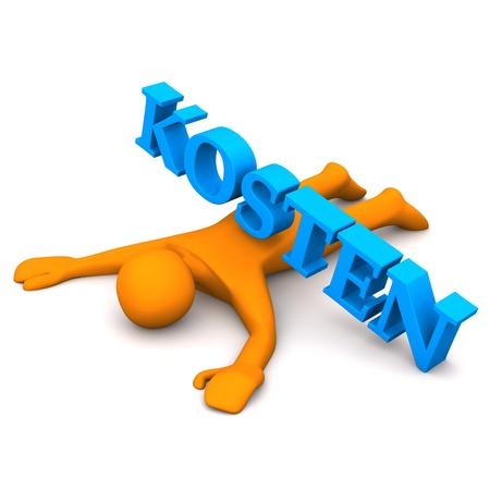Orange cartoon character with german text  Stock Photo