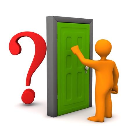 frontdoor: Orange cartoon character knocks on the frontdoor.Behind the frontdoor is a red question mark.