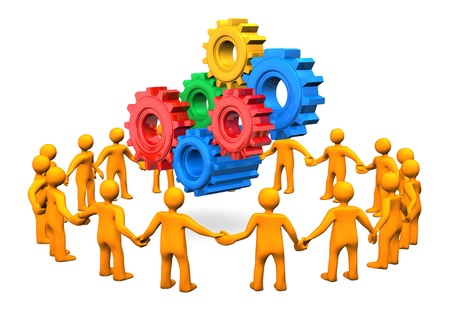 Orange cartoon characters in a circle with gears. White background. photo