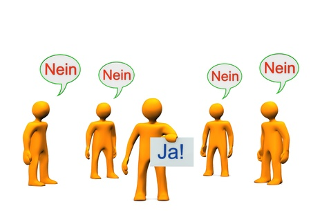 yes communication: Orange cartoon characters with german text