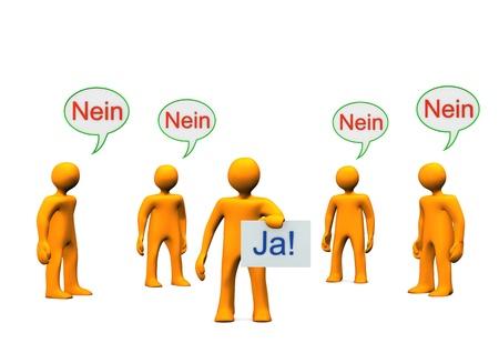 Orange cartoon characters with german text Stock Photo - 18565587