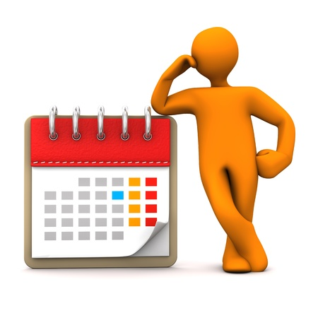 event planning: Orange cartoon character with calendar. White background. Stock Photo