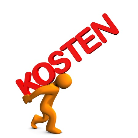 Orange cartoon character with red german text  Stock Photo