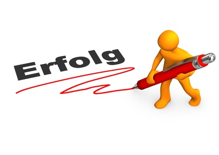 deliverable: Orange cartoon character with red pen and german text  Stock Photo