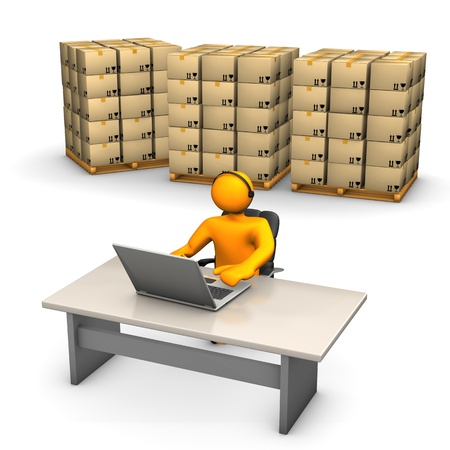 storage warehouse: Orange cartoon characters with laptop, headset and pallets on the white background. Stock Photo