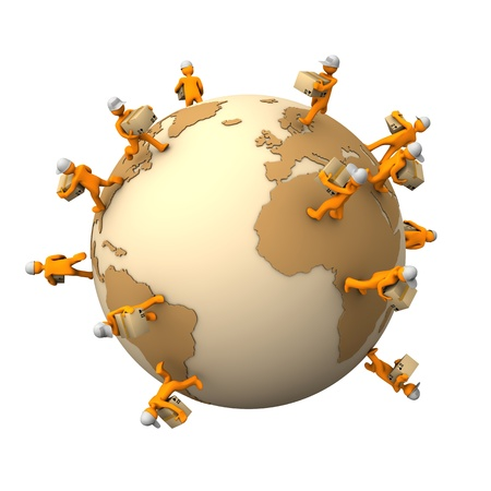 faster: Orange cartoon characters with parcels on the big globe. Stock Photo