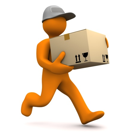 shipments: Orange cartoon characters runs with big parcel. White background.