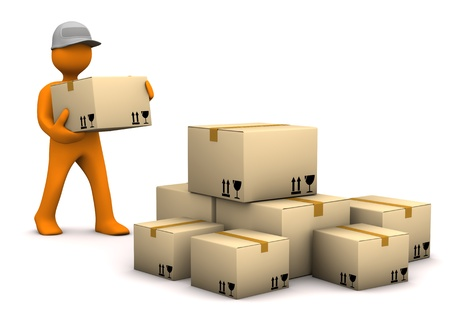 shipper: Orange cartoon characer with parcels. White background. Stock Photo