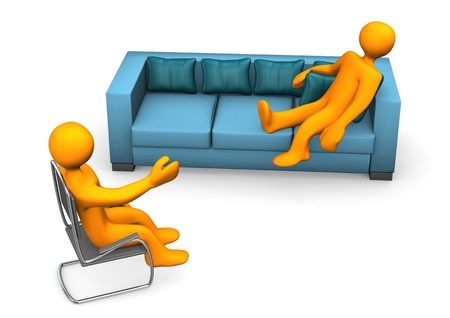psychiatrist: Orange cartoon character on the sofa with psychiatrist on chair.