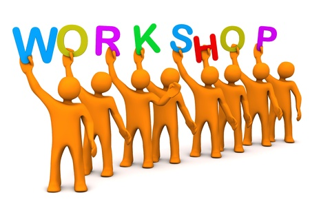 Orange cartoon characters with colorful text workshop Stock Photo - 18565811
