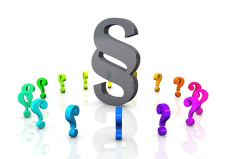 legal advice: Big paragraph with colorful question marks.
