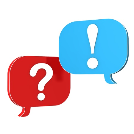 enquiry: Speechbubbles with question and exclamation mark. Stock Photo