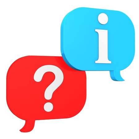 point i: Speechbubbles with question mark and symbol of information. Stock Photo