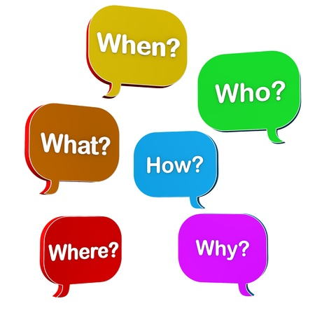 who: Speech bubbles with text when,what,where,how,why,who.