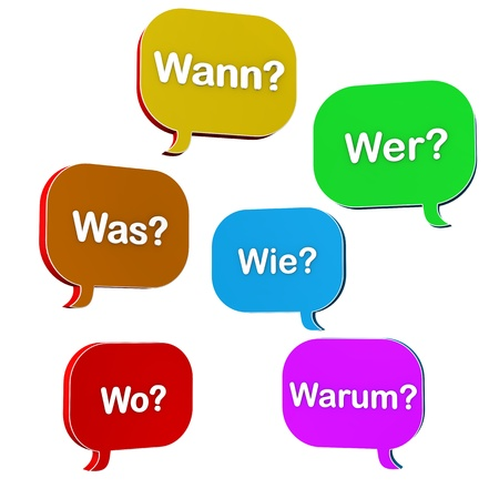 Speech bubbles, with german text 'wann,was,wo, wie, warum,wer' translate when,what,where,how,why,who'. photo