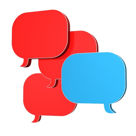 Four speech bubbles with blue and red colors.