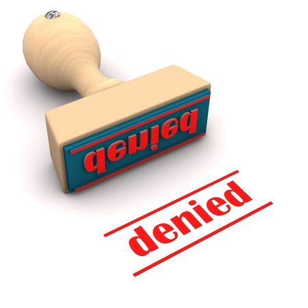 denial: A stamp with text denied. White background.