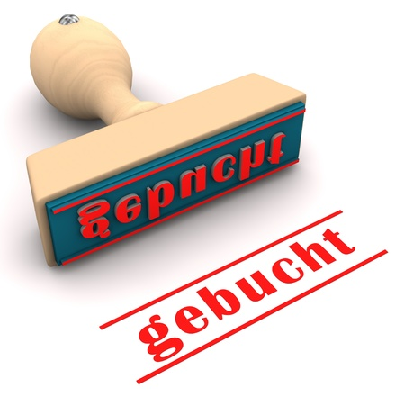 booked: Stamp with german text gebucht, translate booked. Stock Photo
