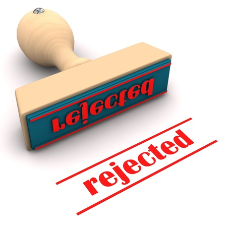 rejected: A stamp with text rejected. White background. Stock Photo