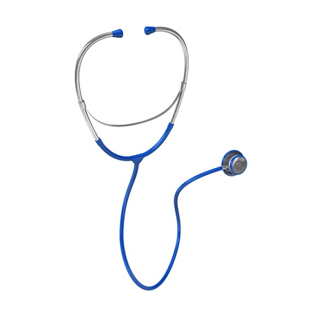 apparatus: Blue stethoscope on the white background. 3d illustration.
