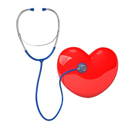 outpatient: Stethoscope with red heart. 3d illustration with white background.